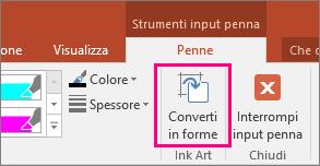 Pulsante Converti in forme in Strumenti input penna