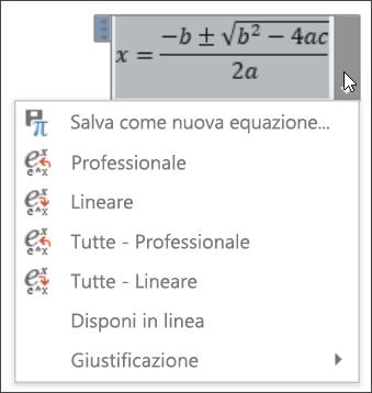 Formato lineare per tutte le equazioni