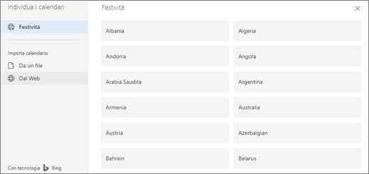 Screenshot dell'opzione Festività in Individua i calendari.