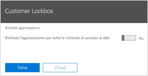 Richiedere l'approvazione per Customer Lockbox