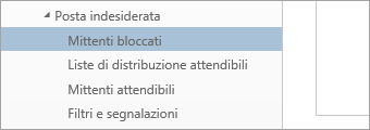 Screenshot di Mittenti bloccati del menu Opzioni