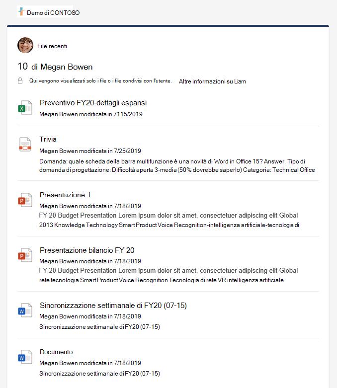 Riquadro Dettagli file recenti che mostra diversi file.