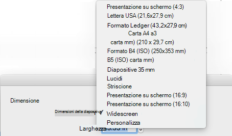 Sono disponibili diverse opzioni di dimensioni delle diapositive predefinite nella finestra di dialogo Imposta pagina