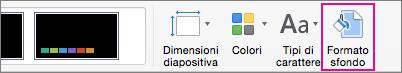 Formato sfondo nella scheda Progettazione