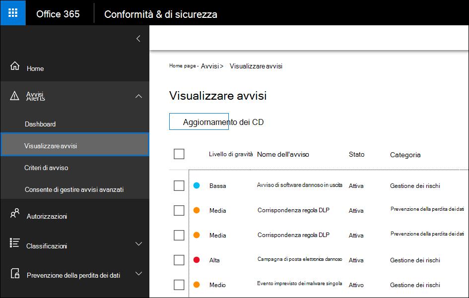Nel Centro sicurezza e conformità fare clic su Avvisi e quindi su Visualizza avvisi per visualizzare gli avvisi
