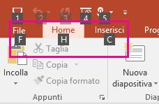 primo piano dei suggerimenti per i tasti di scelta sulla barra multifunzione di PowerPoint