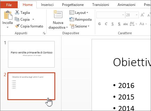 Visualizzazione Normale con anteprima della diapositiva selezionata