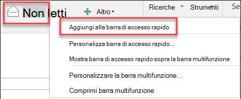 Aggiungi alla barra di accesso rapido di Outlook