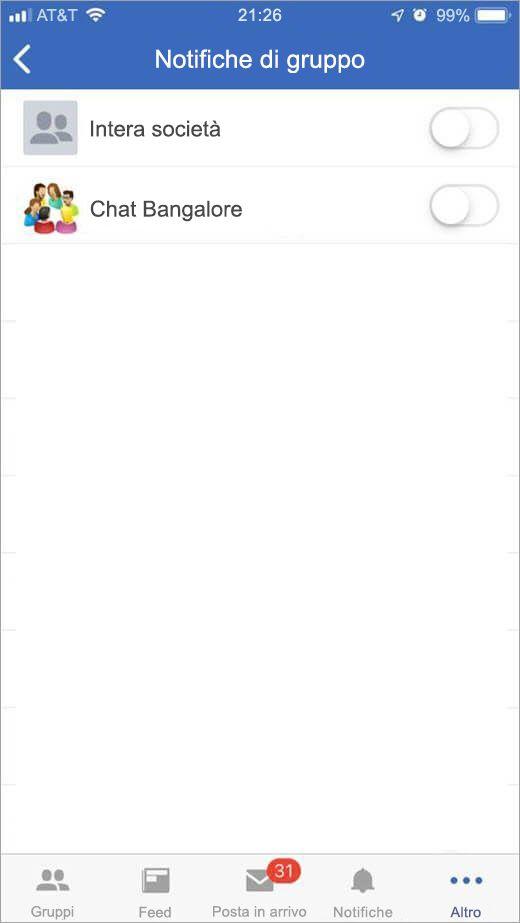 pagina di Yammer di iOS per la selezione dei gruppi per la ricezione delle notifiche