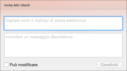 Invito per condivisione in PowerPoint per Mac