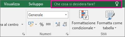 Casella Aiutami sulla barra multifunzione di Excel 2016