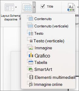 Schermata mostra le opzioni disponibili da Inserisci segnaposto per elenco a discesa, che includono contenuto, contenuto (verticale), testo, testo (verticale), immagine, grafico, tabella, SmartArt, Media e immagine Online.