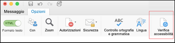 Screenshot dell'interfaccia utente per aprire Verifica accessibilità