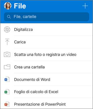 Screenshot del menu Aggiungi nell'app OneDrive per iOS