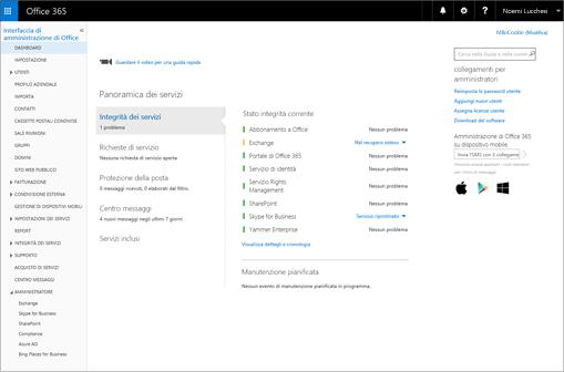 Esempio dell'aspetto dell'interfaccia di amministrazione di Office 365 quando si ha un piano di Skype for Business Online.