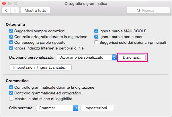 In Controllo ortografia e grammatica fare clic su Dizionari per selezionare i dizionari personalizzati da usare durante il controllo.