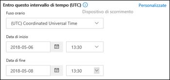 Intervallo di tempo personalizzato in una nuova istanza di Traccia messaggio nel Centro sicurezza e conformità di Office 365