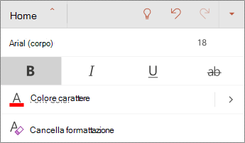 Menu carattere in PowerPoint per Android.