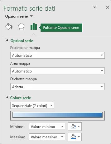 Opzioni serie nel riquadro attività Formato oggetto per Grafico a mappa di Excel
