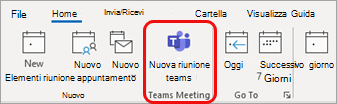 Nuova riunione teams in Outlook