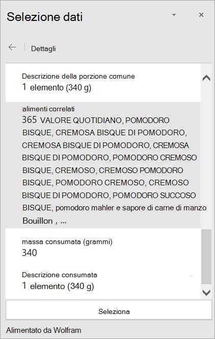 """Screenshot dei dettagli del risultato per """"Vellutata al pomodoro"""" nella selezione dati."""