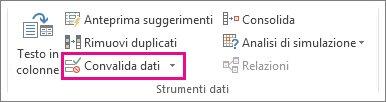 Convalida dati nella scheda Dati