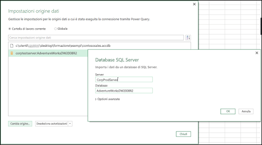 Miglioramenti apportati alla finestra di dialogo Impostazioni origine dati in Power BI per Excel