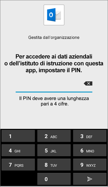 Impostare il PIN per l'app Outlook in Android