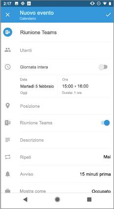 Pagina nuovo evento con l'attivazione della riunione Teams