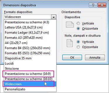 Widescreen o Presentazione su schermo (16:9)