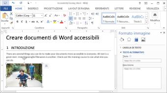 Questo corso di formazione illustra come creare documenti accessibili con Word 2016