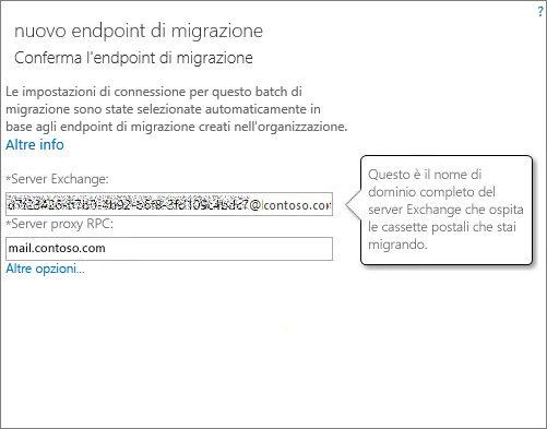 Connessione confermata per l'endpoint Outlook via Internet.