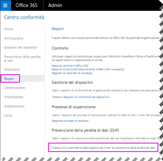 Pagina Report nel Centro sicurezza e conformità di Office 365