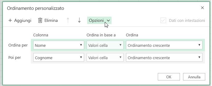 Finestra di dialogo ordinamento personalizzato con il pulsante di opzione selezionato