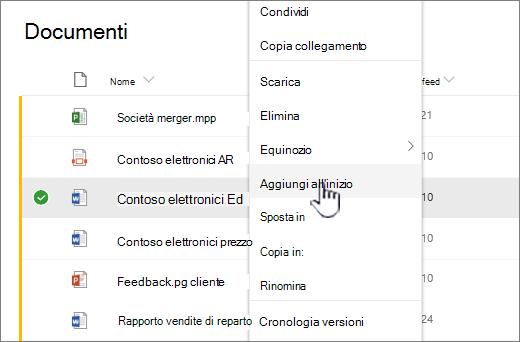 Aggiungi al menu file in primo piano