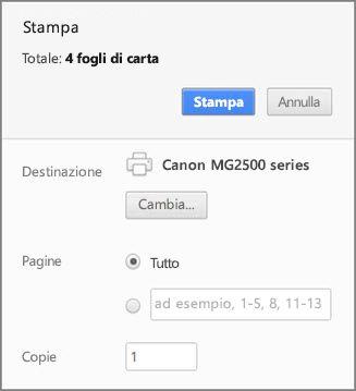 Opzioni del pannello Stampa di Chrome