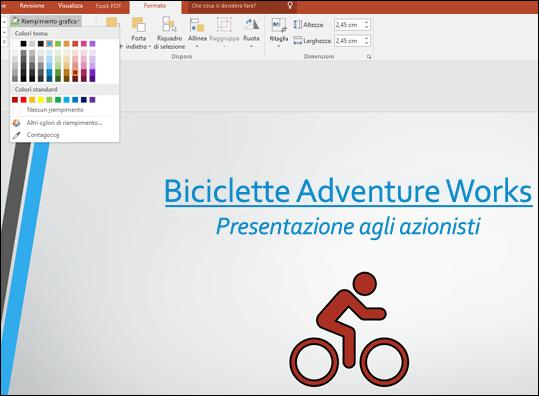 Usare lo strumento Riempimento grafica per modificare il colore dell'immagine SVG