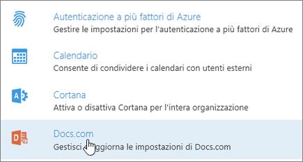 Nella pagina Servizi e componenti aggiuntivi selezionare Docs.com.