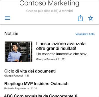 Screenshot Novità del team sul sito