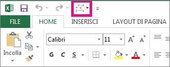 Opzione Modifica forma nella barra di accesso rapido