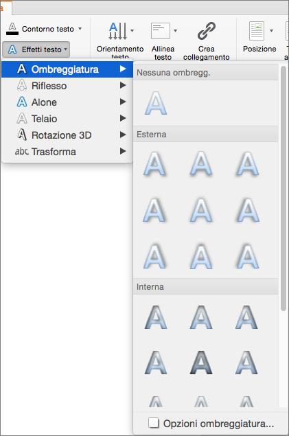 Opzioni di ombreggiatura nel menu Effetti testo