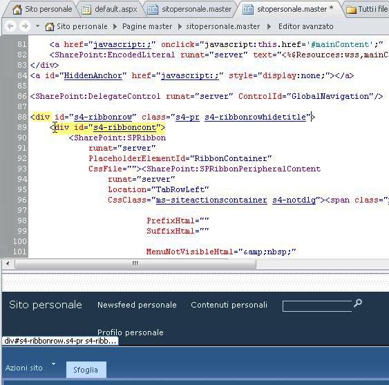 Uso di tag DIV per la personalizzazione della Pagina master sito personale