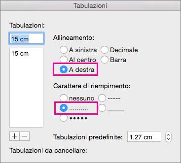 Finestra di dialogo Tabulazioni configurata per una tabulazione allineata a destra con punti