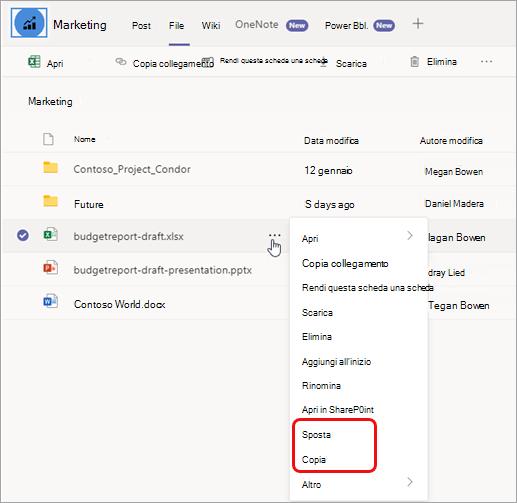 Selezionare Altre opzioni per spostare o copiare un file
