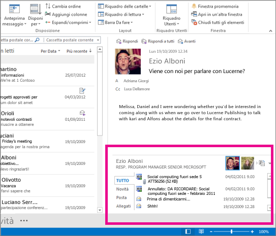 Outlook Social Connector dopo l'espansione