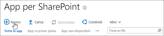 Catalogo app per SharePoint Online con il pulsante Nuovo evidenziato