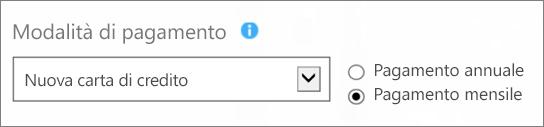 """Screenshot della sezione Modalità di pagamento nella pagina """"Quale metodo di pagamento si sceglie?"""", con le opzioni Nuova carta di credito e Pagamento mensile selezionate."""