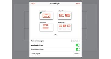 Finestra di dialogo Opzioni di layout