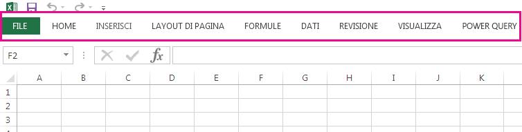 Sulla barra multifunzione sono visualizzate solo le schede.
