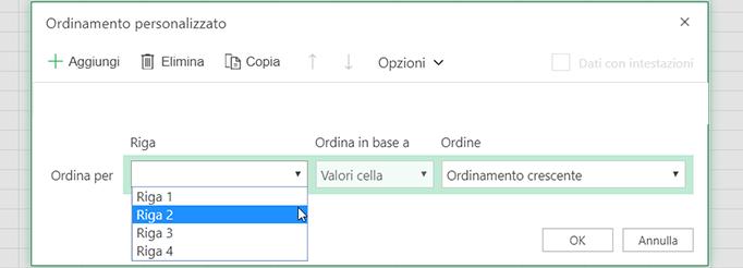 L'elenco a discesa riga nella finestra di dialogo Ordinamento personalizzato è disponibile quando si seleziona l'ordinamento da sinistra a destra